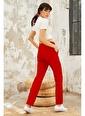 Tommy Life Kırmızı Kadın Yüksek Bel Cepli Standart Kalıp Klasik Paça Eşofman Alt-94584 Kırmızı